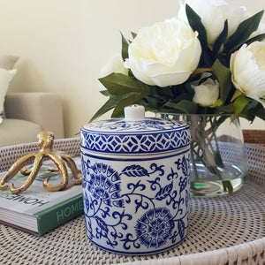 Blue and White Ceramic Tapestry Jar