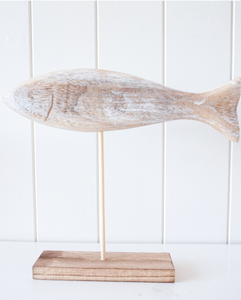 White Wash Timber Fish