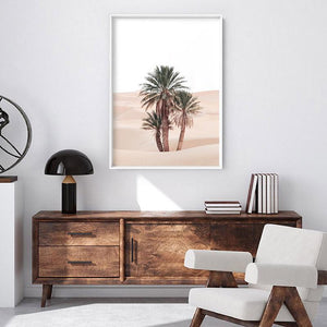 Desert Palms on Sand Dunes I - Art Print