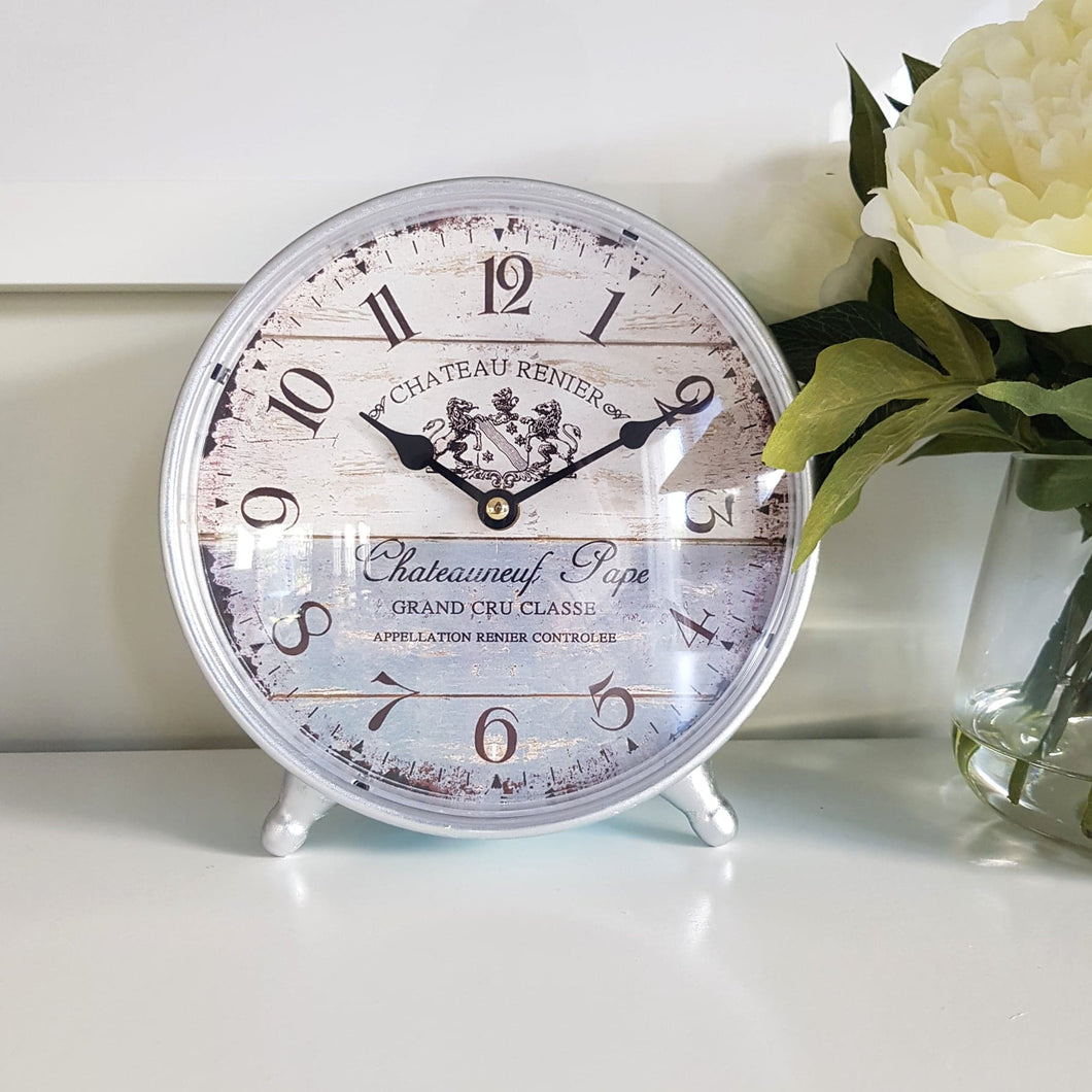 French Provincial Style Metal Table Clock