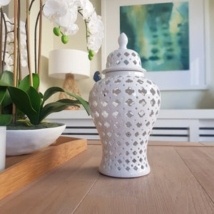 White Quatrefoil Ceramic Ginger Jar