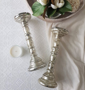 Mercury Glass Silver Candle Holders