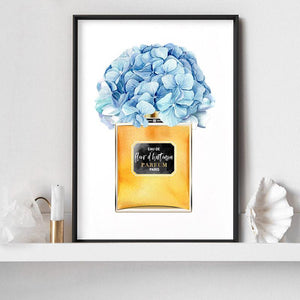 Gold and Blue Floral Perfume Bottle - Art Print