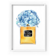 Load image into Gallery viewer, Gold and Blue Floral Perfume Bottle - Art Print