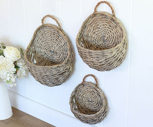 Wicker Wall Basket Set