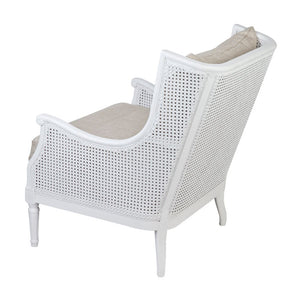 Havana Cane and Linen Arm Chair - White