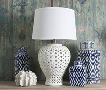 Load image into Gallery viewer, Tall Antique White Lattice Lamp - 2 Shades Available