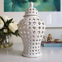 Load image into Gallery viewer, White Quatrefoil Ceramic Ginger Jar