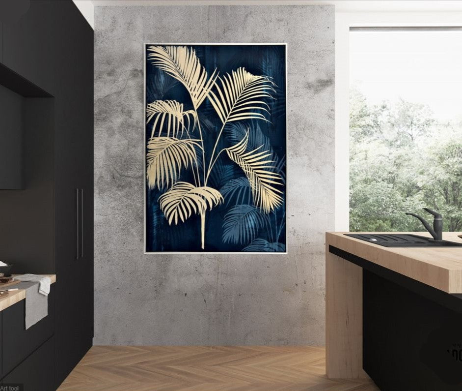 Navy Palm Tree Framed Canvas