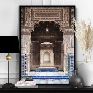 Ornate Carved Arch Passage Morocco - Art Print