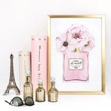 Load image into Gallery viewer, Pastel Pink Floral Perfume Bottle - Art Print