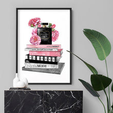 Load image into Gallery viewer, Perfume Bottle on Fashion Books Stack I - Art Print