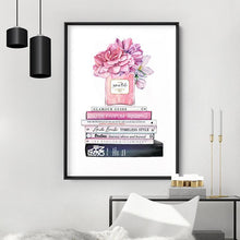 Load image into Gallery viewer, Perfume Bottle on Fashion Books Stack II - Art Print