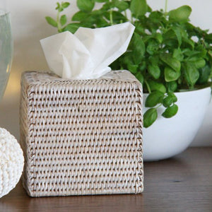 Square Rattan Tissue Box in White Wash