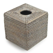 Load image into Gallery viewer, Square Rattan Tissue Box in White Wash