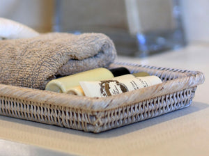 Rattan Towel Tray in White Wash