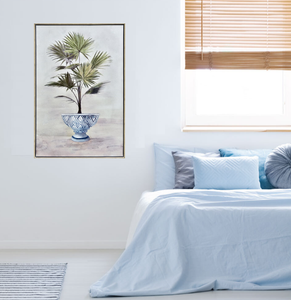 Potted Fan Palm Timber Framed Print
