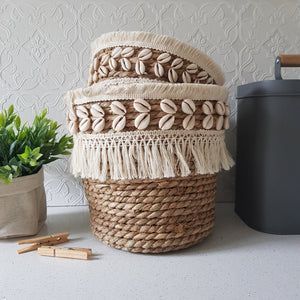 Set of 2 Seagrass - Shell Baskets