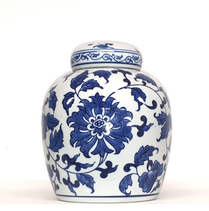 Floral and Vine Ceramic Ginger jar