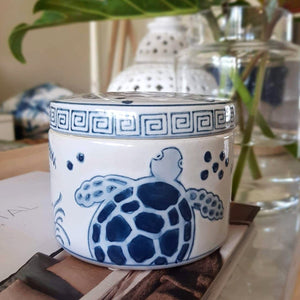 Blue and White Ceramic Turtle Box