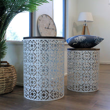 Load image into Gallery viewer, Moroccan Metal Drum Table Set