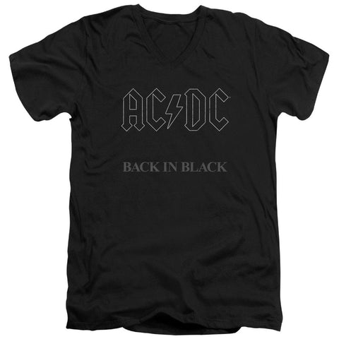 Acdc - Back In Black Short Sleeve Adult V Neck - Punchy