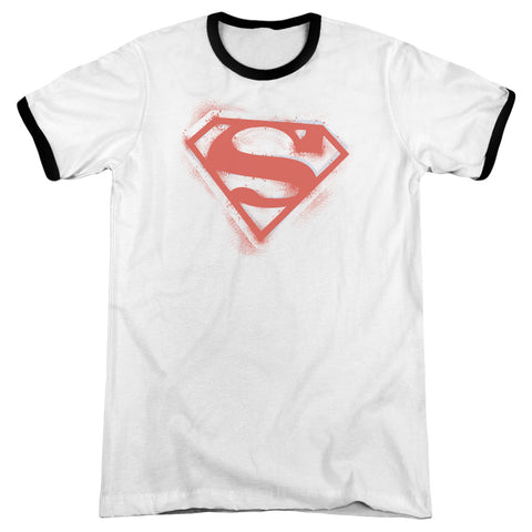 Superman - Spray Paint Shield Adult Ringer