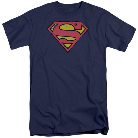 Superman - Distressed Shield Short Sleeve Adult Tall