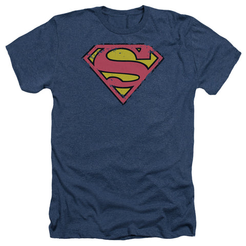 Superman - Distressed Shield Adult Heather