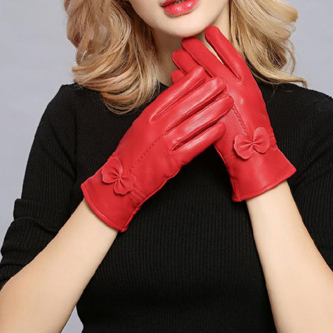 Women Genuine Leather Winter Warm Glove Ladies Real Sheep Leather Gloves Girls Driving Fashion Female Luxury Wool lined Gloves