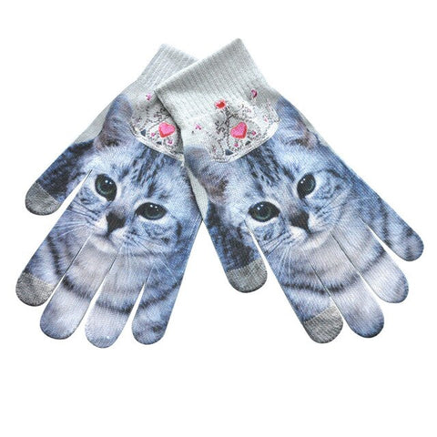 Cute Kawii Cat Print Gloves Women Winter Warm 3d Print Knitted Touch Screen Gloves Ladies Girls Lovely Thick Glove Handschoenen