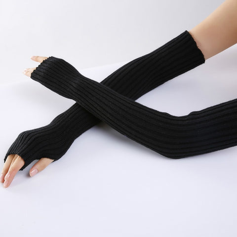 women's long fingerless winter knitted gloves costume mittens without fingers black white