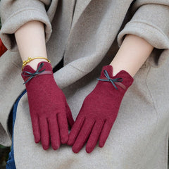 Women touch Mitten Gloves Winter Women Warm Cashmere Full Finger Leather Bow Gloves Wool Embroidery Touch Screen Gloves C22