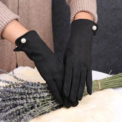 Women's gloves winter touch screen plus velvet warm suede leather mittens bicycle driving thickening cold winter warm gloves E44