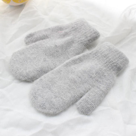 Women Winter Thick Knitted Cashmere Double Layer Plush Wool Knit Warm Mittens Female Cute Full Fingers Gloves L80
