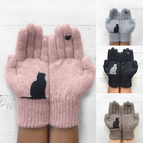 Winter Warm Cold Cashmere Gloves Thick Cartoon Cat Print Wool Knitted Full Finger Gloves Men And Women Gloves