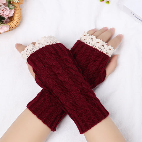Casual Fashion Unisex Semi-Long Gloves Knitted Lace Fingerless Winter Gloves Soft Mitten Female Warm Gloves Without Fingers