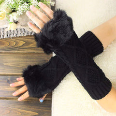 Women Warm Fingerless Solid Color Mid-Length Arm Sleeve Faux Rabbit Fur Cuffs Gloves Winter High Elastic Wool Knitted Gloves