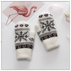 Women Gloves Winter Knitted Warm Gloves Delicate Pattern Windproof Gloves Mittens  Gloves Heated For Christmas