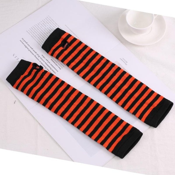 Fashion Long Women Gloves Stretchy Knitting Striped Fingerless Gloves Mitten Winter Warm Soft Female Gloves for Driving