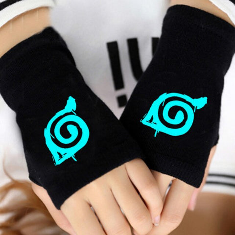 Anime Gloves Warm Winter Fingerless Naruto Steampunk Cartoon Knitted Gloves Cosplay Costume Accessories Black for Men Women