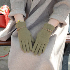 Fashion Elegant Female Wool Touch Screen Gloves Winter Women Warm Cashmere Full Finger Leather Bow Dotted embroidery Gloves A29