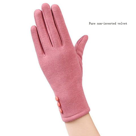 Women Autumn Winter Plush Inside  Warm Sports Fitness Touch Screen Cycling Mittens Female Full Finger Cotton Cashmere Gloves C54