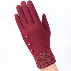Fashion Elegant Womens Touch Screen Gloves Winter Ladies Lace Warm Cashmere Bow Full Finger Mittens Wrist Guantes Gift 16A-F