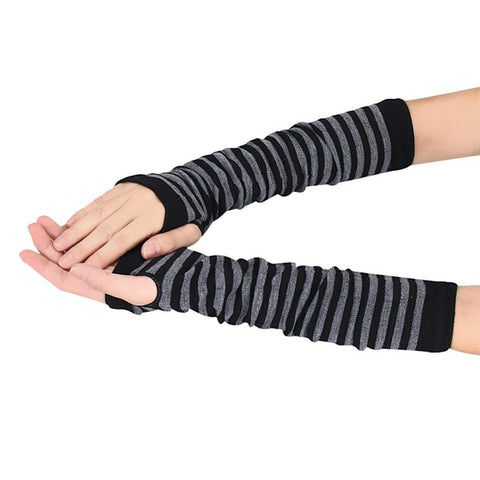 Women Winter Striped Wrist Arm Hand Warmer Knitted Long Fingerless Gloves Mitten Arm Warmers