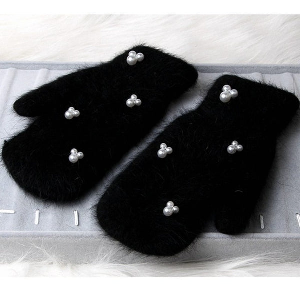 12 color 2019 Fashion women winter gloves Luxury Pearl Decoration Rabbit Fur Gloves For Girl winter outdoor Female mittens Luav