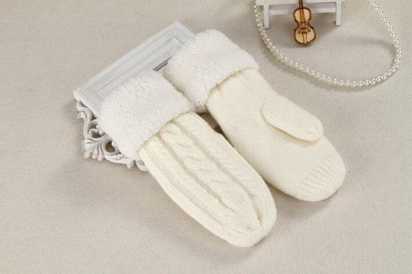Women Fashion Knit Twist Flowers Mittens Winter Female Wool Plus Cashmere Velvet Thickening Warm Full Finger Gloves Guantes L46