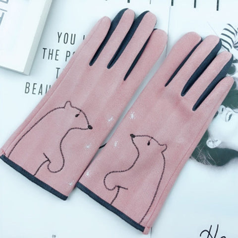 Women winter warm Mittens gloves Lovely cartoon cat touch screen gloves winter Plus velvet suede cycling driving gloves D92
