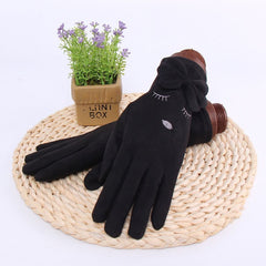 Winter Female Single Layer Warm Cashmere Full Finger Plum Pattern Mittens Women Suede Leather Touch Screen Driving Gloves B15