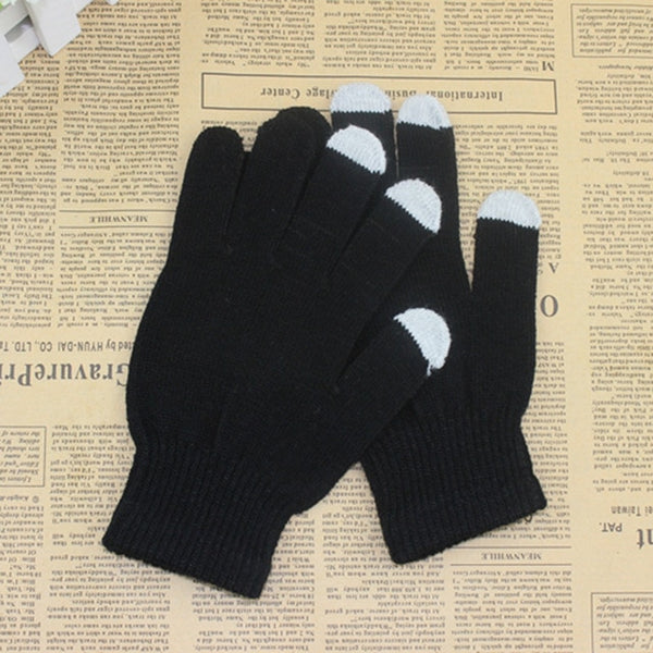 Winter Touch Screen Gloves Texting Cap Smart Phone Women Men Warm Stretch Knit Mittens Full Finger Female Crochet Soft Thicken
